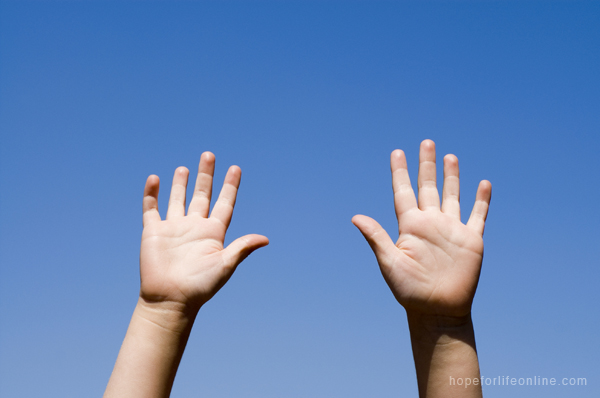 Hands Raised Blue Sky