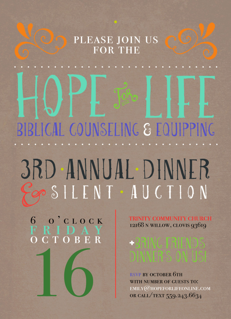 Hope For Life Biblical Counseling Dinner Auction